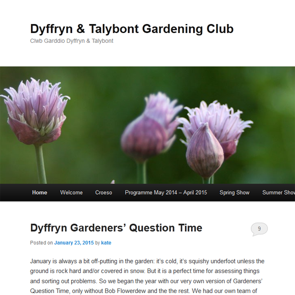 Blog for the Dyffryn and Talybont Gardening Club, run by Kate Santon
