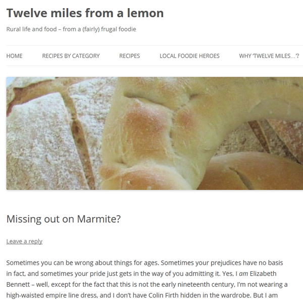 Food blog 'Twelve miles from a lemon' written by Kate Santon